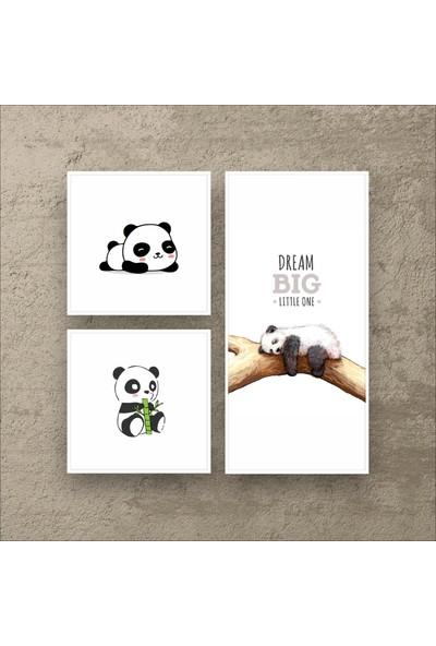 Stüdyo Neo Panda - Modern Çerçeveli Duvar Tablosu - Metalik Görünümlü Ahşap Estetik Çerçeveli
