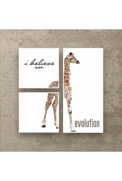 Stüdyo Neo Zürafa - Modern Çerçeveli Duvar Tablosu - Metalik Görünümlü Ahşap Estetik Çerçeveli