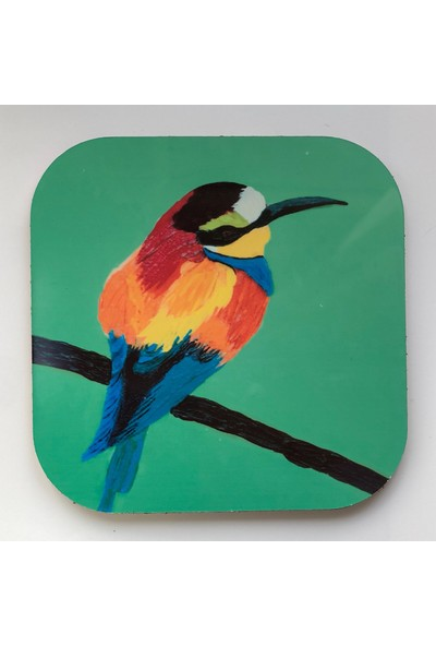 Artmuguet Bird In Green Sky Metal Yüzeyli Bardak Altlığı