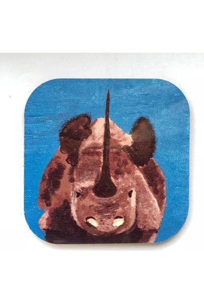 Artmuguet Concentrated Rhino Metal Yüzeyli Bardak Altlığı