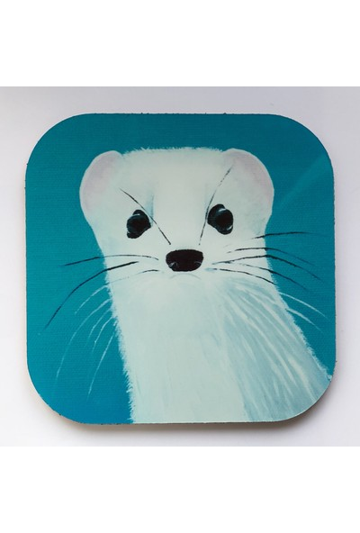 Artmuguet Curious Snow Weasel Metal Yüzeyli Bardak Altlığı