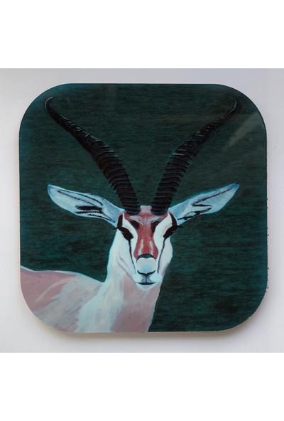 Artmuguet Elegant Antelope Metal Yüzeyli Bardak Altlığı