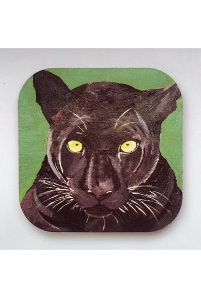 Artmuguet Fierce Panther Metal Yüzeyli Bardak Altlığı