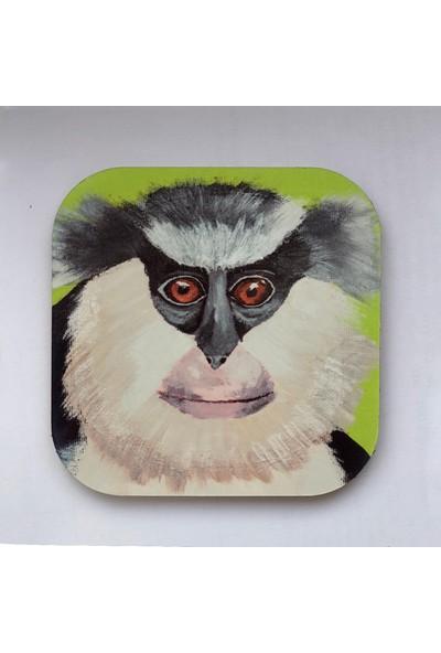 Artmuguet Gray-Haired Monkey Metal Yüzeyli Bardak Altlığı