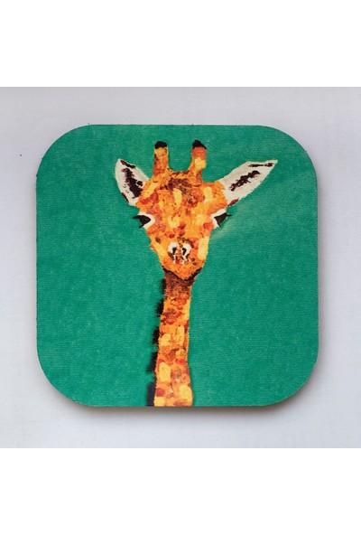 Artmuguet Thoughtful Giraffe Metal Yüzeyli Bardak Altlığı
