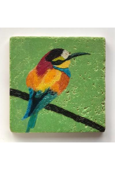 Artmuguet Bird In Green Sky Taş Bardak Altlığı