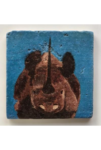 Artmuguet Concentrated Rhino Taş Bardak Altlığı
