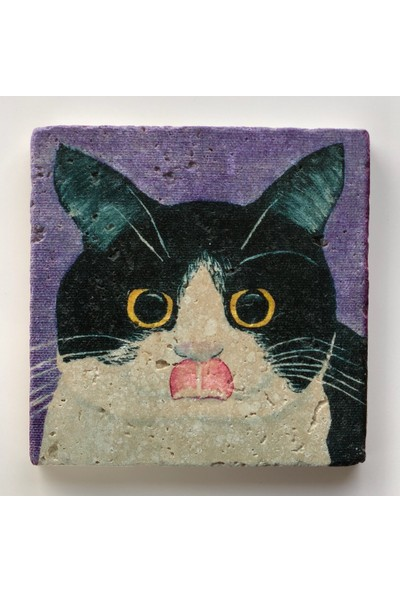 Artmuguet licky Kitty Taş Bardak Altlığı