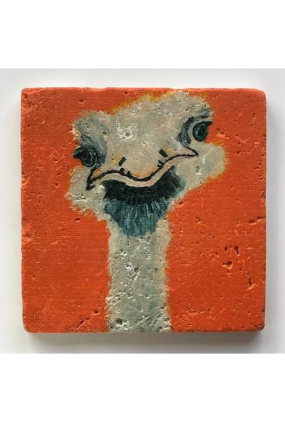 Artmuguet Skeptical Ostrich Taş Bardak Altlığı
