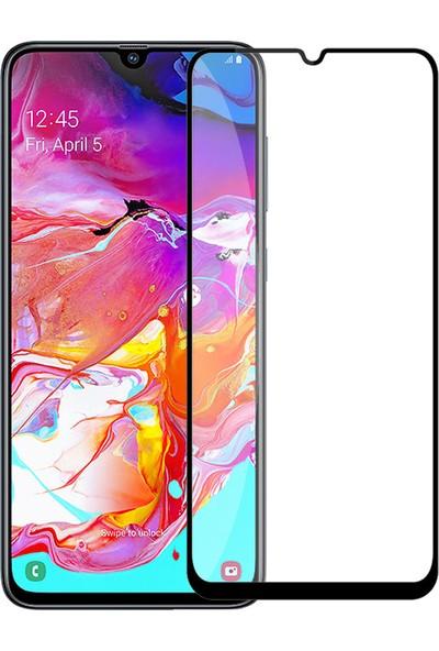 Samsung Galaxy A70 Premium Silikon Kılıf + Tam Kaplayan 5D Ekran Koruyucu Cam