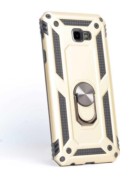 Case Street Samsung Galaxy J4 Plus Kılıf Vega Standlı Yüzüklü Mıknatıslı Gold