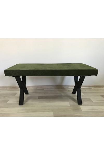 İrem Sırtsız Bank Puf Bench - Retro Siyah Ayak