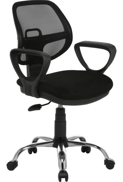 Seduna Evo Xwork Siyah Fileli Ofis Çalışma Koltuğu - Krom Ayaklı - Bilgisayar Koltuğu