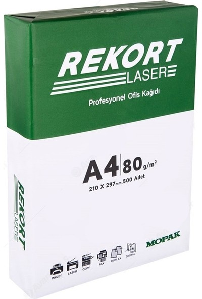 Mopak Rekort A4 Fotokopi Kağıdı 80 Gr. 500 Lü 1 Paket