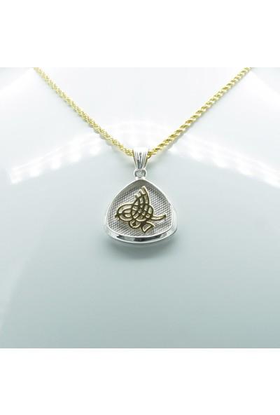 Amelya Gold Dghnqrv9 Beyaz Gümüş Tuğra Kolye