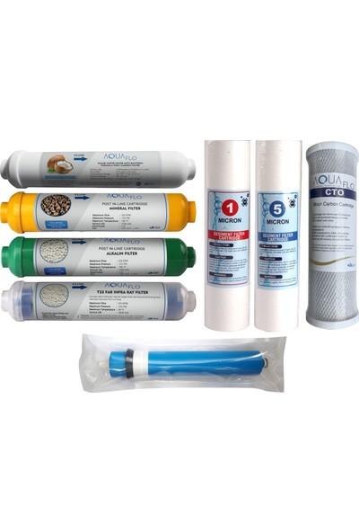 Aquaflo Su Arıtma Filtresi 8'li Tam Set Su Arıtma Cihazları Filtre Seti