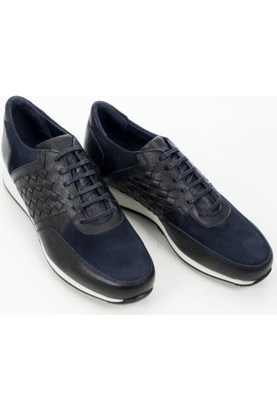 Deepsea Lacivert Önü Süet Yanları Hasır Örmeli Bağcıklı Erkek Spor Ayakkabı 1909847