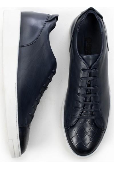 Deepsea Lacivert Kauçuk Taban Desenli Deri Erkek Ayakkabı 1909914