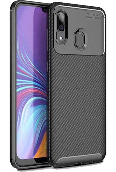 CoverZone Samsung Galaxy A30 Karbon Delüx TPU Silikon Kılıf Siyah
