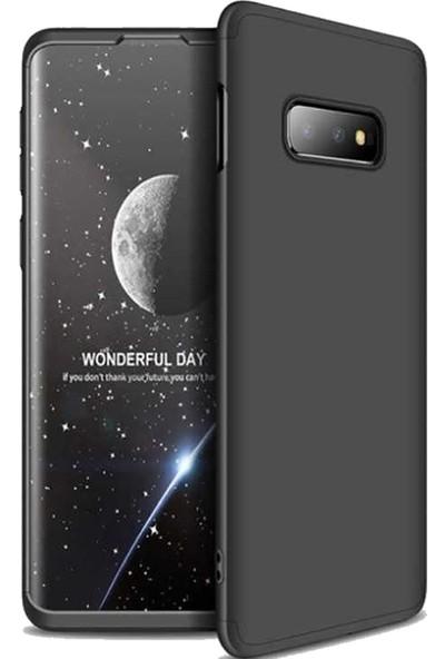 CoverZone Samsung Galaxy S10e 3 Parça 360 Soft Hard Koruma Kılıf Siyah