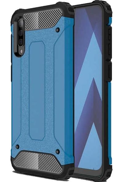 CoverZone Samsung Galaxy A30 Kılıf Zırhlı Shockproof Silikon Mavi