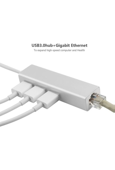CoverZone Type - C To Macbook 3 Port Usb Hub ve Gigabit Ethernet Adaptör ENT