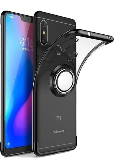 CoverZone Samsung Galaxy A70 Dört Köşeli Lazer Yüzük Tutuculu Standlı Kılıf Siyah + Temperli Ekran Koruma