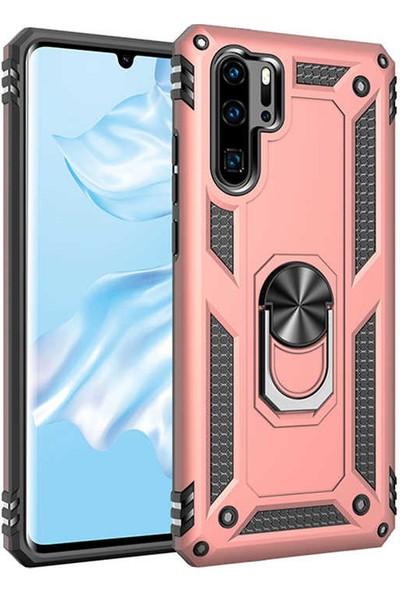 CoverZone Huawei P30 Pro Kılıf Shockproof Standlı Yüzük Tutuculu Mega Case Rose Gold + Temperli Ekran Koruma