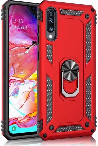 CoverZone Samsung Galaxy M10 Kılıf Shockproof Standlı Yüzük Tutuculu Mega Case Kırmızı + Temperli Ekran Koruma