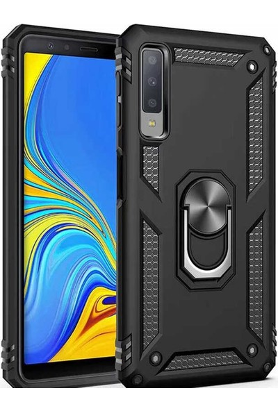 CoverZone Samsung Galaxy M20 Kılıf Shockproof Standlı Yüzük Tutuculu Mega Case Siyah + Nano Glass Nano Ekran Koruma + Dokunmatik Kalem