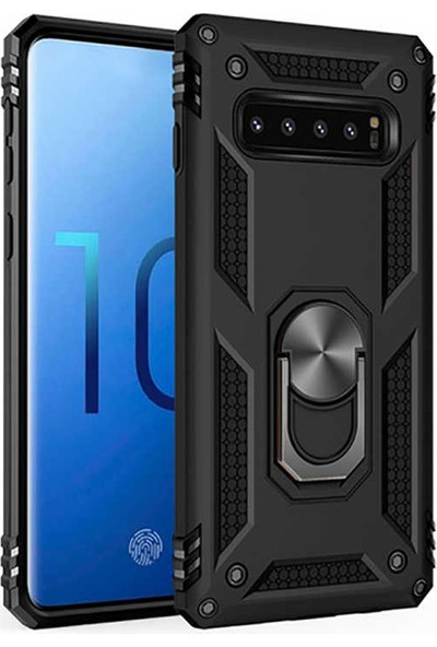 CoverZone Samsung Galaxy S10e Kılıf Shockproof Standlı Yüzük Tutuculu Mega Case Siyah