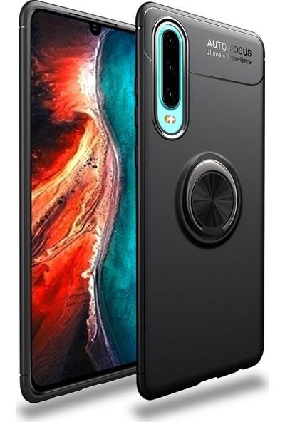 CoverZone Huawei P30 Lite Novel Yüzük Tutuculu Standlı Silikon Kılıf Siyah + Temperli Ekran Koruma