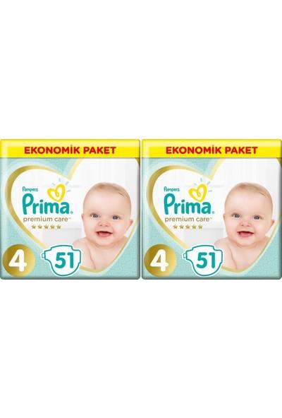 Prima Premium Care 4 Numara 51 x 2=102 Adet Bebek Bezi
