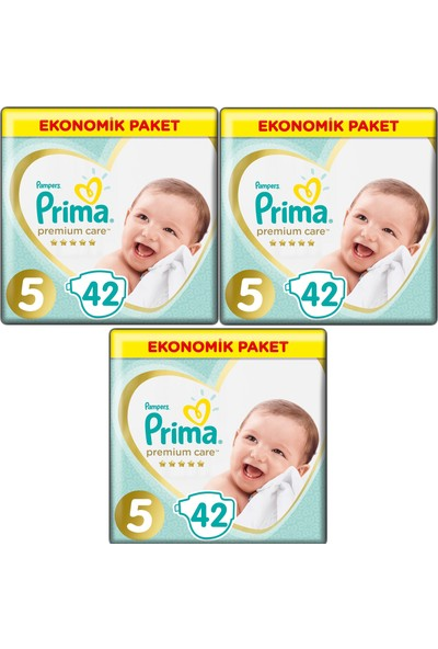 Prima Premium Care 5 Numara 42 x 3=126 Adet Bebek Bezi