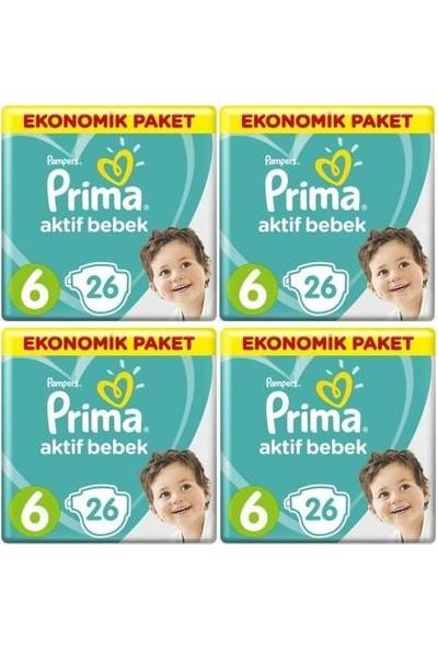 Prima Aktif Bebek Ekonomik Paket 6 Numara 26 x 4=104 Adet Bez