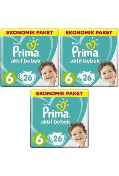Prima Aktif Bebek Ekonomik Paket 6 Numara 26 x 3=78 Adet Bez
