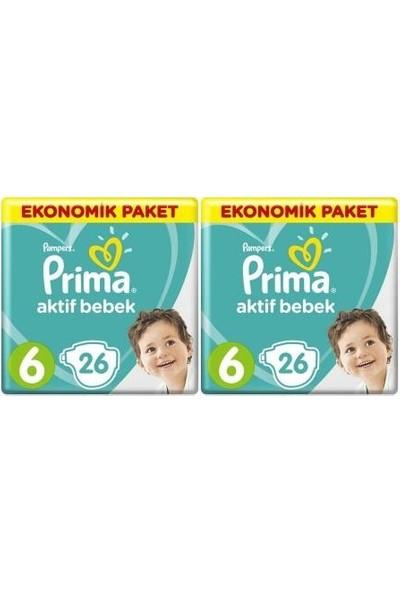 Prima Aktif Bebek Ekonomik Paket 6 Numara 26 x 2=52 Adet Bez