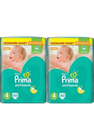 Prima Aktif Bebek Ekonomik Paket 4 Numara 45 x 2=90 Adet Bebek Bezi