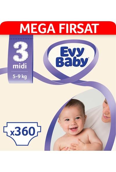 Evy Baby Bebek Bezi 3 Beden Midi Mega Fırsat Paketi 360' lı
