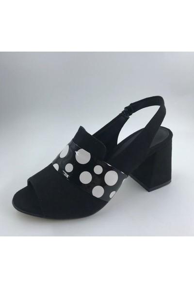 Valeria Üstü Puantiyeli Kısa Topuklu Ayakkabı