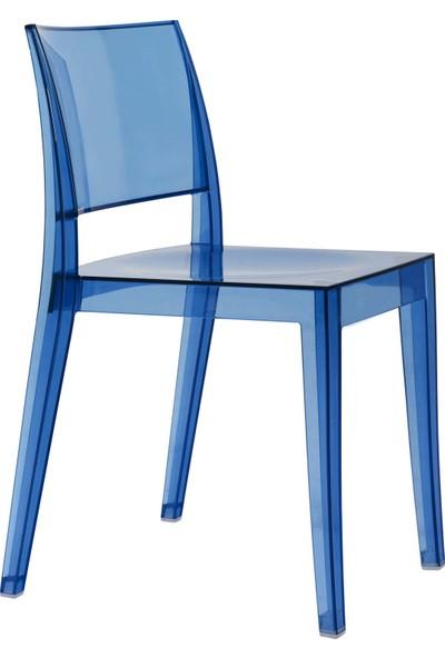 Papatya Gyza Sandalye Transparan Mavi