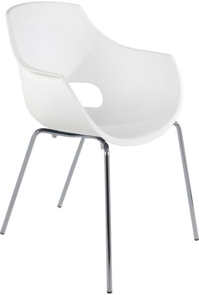 Papatya Opal Pro Sandalye Beyaz-Krom