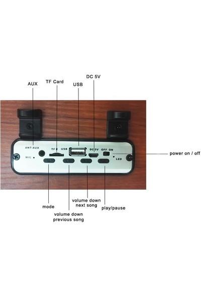 Lifemoni GW-11 Portatif Bluetooth/SD/USB/Radi̇o Telefon Standlı Ahşap Wireless Speaker
