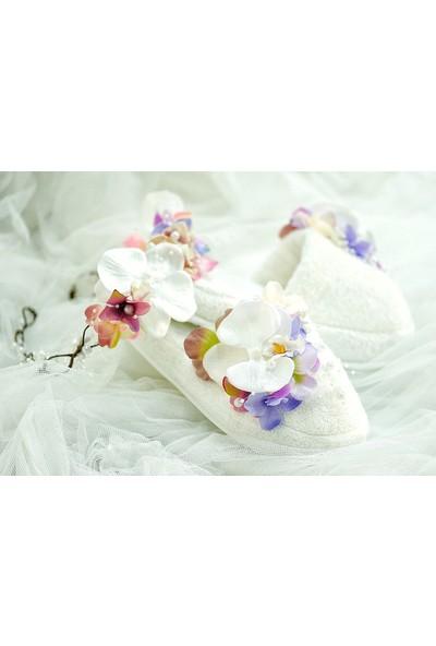 Mina'nın Düşleri Mor Çiçekli ve Orkideli Bukle Lohusa Terlik Seti