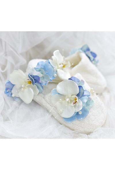 Mina'nın Düşleri Mavi Çiçekli ve Orkideli Bukle Lohusa Terlik Seti