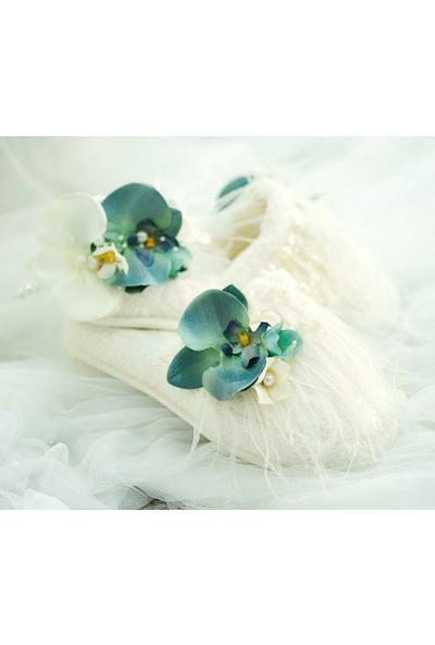 Mina'nın Düşleri Turkuaz Orkideli Bukle Lohusa Terlik Seti