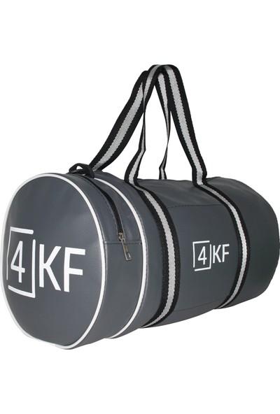 4KF Silindir Spor Çantası Gri