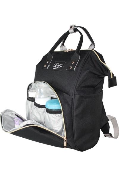 4KF Anne Bebek Bakım Sırt Çantası Fonksiyonel Su Geçirmez Çanta Siyah