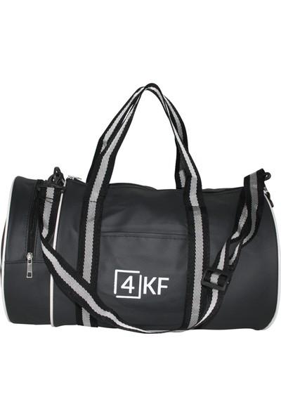 4KF Silindir Spor Çantası Siyah