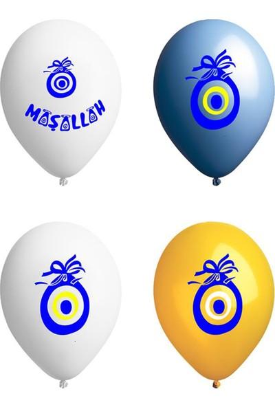 Atom Balon Nazar Boncuğu ve Maşallah Baskılı Karışık Renkli 12 İnch 100'LÜ Paket Balon